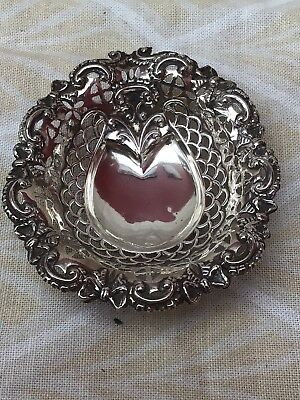 Victorian Oxidised Sterling Silver Lucky Horseshoe Fretted Repousse Bon Bon Dish