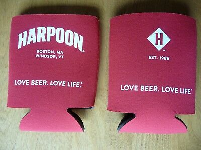 Harpoon Brewing Company Boston, MA Red Neoprene 12oz Beer Can Koozie Cooler, NEW