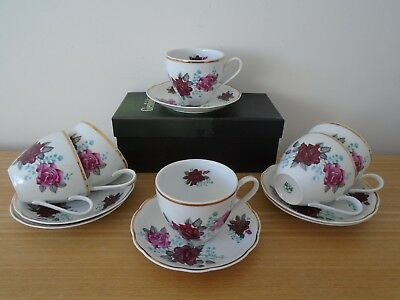6 Large Vintage Red and Pink Rose Porcelain Cups & Saucers