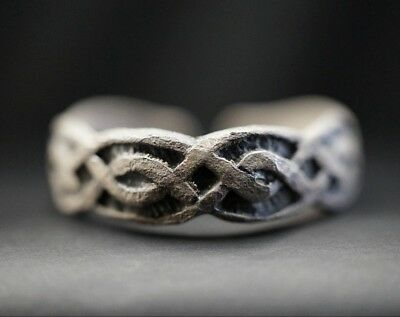 Ancient Viking Hammered Silver Ring of Norse Eternity Knot Loop, c 950-1000 Ad.