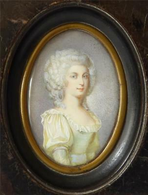 Antique 19Th Century Portrait Miniature Of A Young Lady In Original Frame