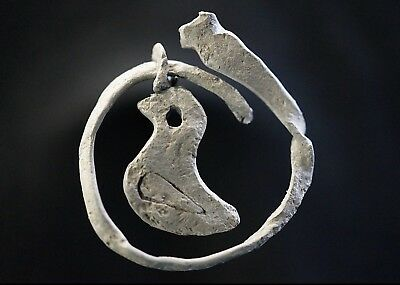 Ancient Viking Hammered Silver Amulet of Norse Bird in circle, c 950-1000 Ad.