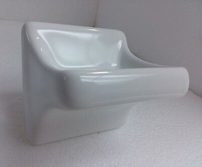 Arctic White Ceramic Soap Dish Tray Holder Vintage Retro Square Wall Mount Tray