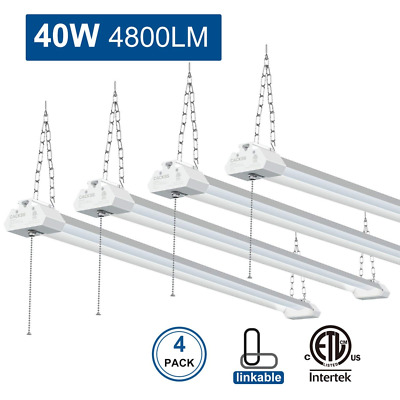 Linkable LED Garage Shop Light, 40W 4800LM workbench light, Pull Chain 4 Packs
