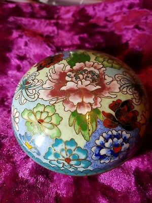 antique chinese cloisonne enamel and brass large trinket box for rings etc...