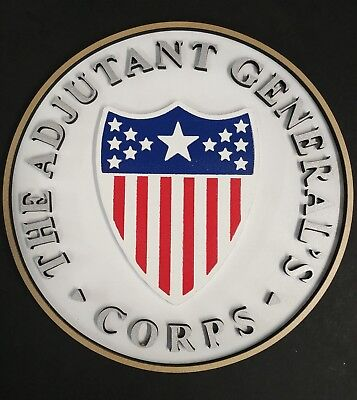 "10"" US Army Adjutant General's Corps Branch Plaque ""Defend and Serve"" Military"