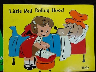 Vintage Sifo Wooden Puzzles Nursery Rhymes Lot Of 5