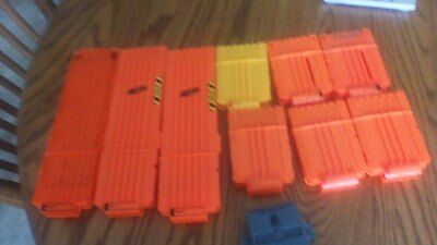 Lot  of 9 NERF 6 & 18 Dart Clip Gun Ammo Magazines With Clip Attachment