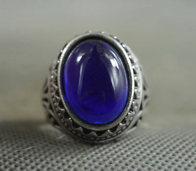 Decorate Collectable Handwork Miao SIlver Carve Flower Inlay Agate Woman Ring