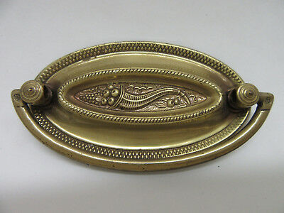 """Vintage Brass Oval Drawer Bail Pull With Horn of Plenty Fall Harvest 3"""" Center"""