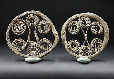 Pair of 2 Ancient Viking Hammered Silver Norse Openwork Amulets, c 950-1000 Ad.