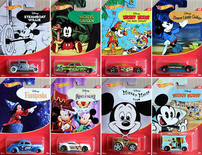 2018 Hot Wheels MICKEY MOUSE 90th ANNIVERSARY Walmart complete 8 Car Set Disney