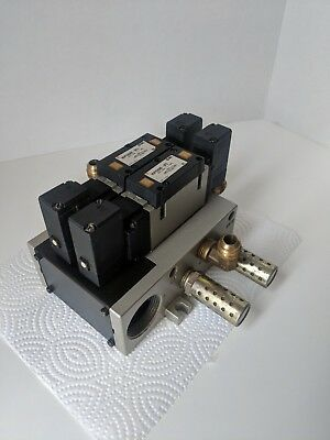 Lot of 2 NVFS3500-3FZ Air Valves With a Block