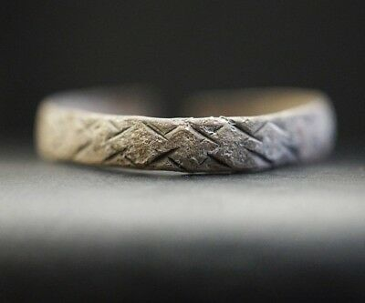 Ancient Viking Hammered Silver Finger Ring, circa 950-1000 Ad. Richly Decorated.