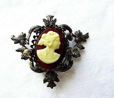 Vintage Antique Ornate Frame Cameo Brooch Pin Rhinestone Brass Metal Celluloid