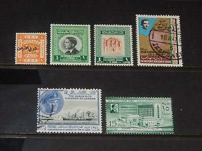 Jordan stamps for sale - 6 mint hinged and used old stamps - nice group !!