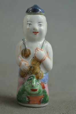 China Collectable Handwork Porcelain Paint Child Hold Wealthy Lucky Snuff Bottle