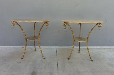 Pair Of Stunning Post Modern Goatskin And Gilt Wrought Iron Gueridon Side Tables