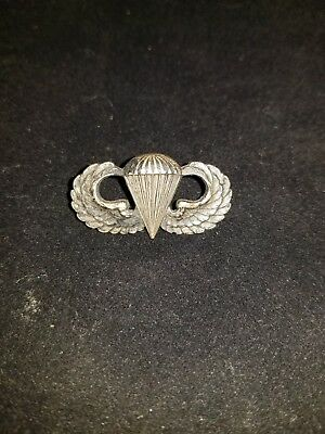 Sterling Silver Paratrooper US Air Force Jump Pin Wings WWll Parachute