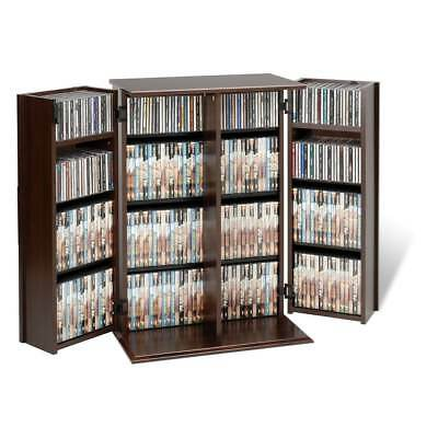 Everett Brown Wood Locking DVD/CD Media Storage Cabinet Furniture
