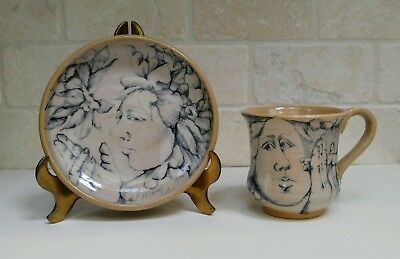 Set of Art Pottery Ceramic Cup and Plate by Mary Lou Higgins 1975