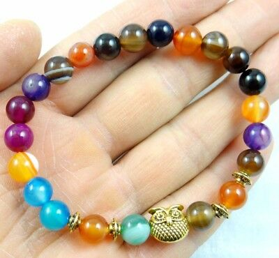 8MM Natural Round beads agate Gem Charms Gold owl head Stretchy Bracelets