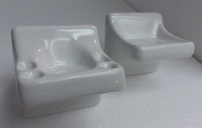 White Ceramic Soap Tray Toothbrush Tumbler Holder Wall Mount Vintage Retro Gloss
