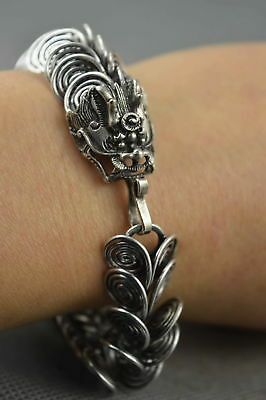 China Art Collectable Handwork Miao Silver Carve Rotate Dragon Scales Bracelet