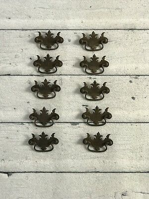 Lot of 10 Vintage Bat Wing Style Brass Dresser Desk Drawer Pulls Handles Set