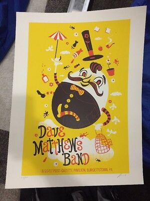Dave Matthews Band Poster 2007 Pittsburgh Burgettstown Signed /390 Rare!