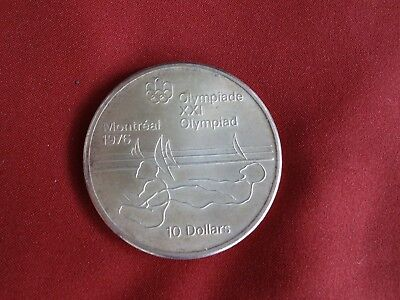 Canada 1975 Silver $10 -Montreal Olympic Sailing - Near Perfect Uncirculated
