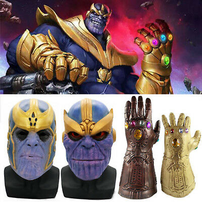 The Avengers Thanos Infinity Gauntlet Glove Mask Cosplay Props Kid Toys Gifts UK