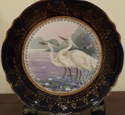 Antique Large Asian Motif  Plate Charger Birds Egrets Cranes Cobalt Trim 12""