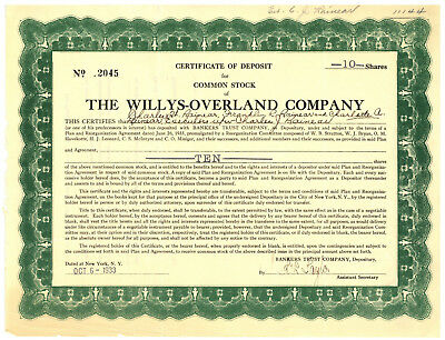 Willys-Overland Company.  Certificate of Deposit for Common Stock