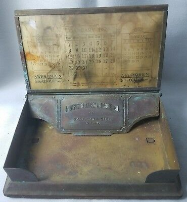 Antique Independent Coal and Coke Co. Metal desktop Calendar SALT LAKE CITY UTAH