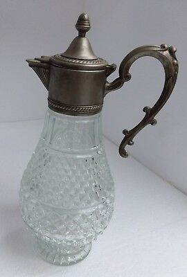 Antique Vintage Crystal Cut Leaded Glass Diamond Pattern Bronze Acorn Decanter