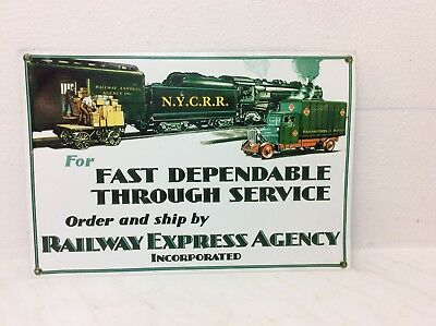 Metal Railway Express Agency Railroad Sign