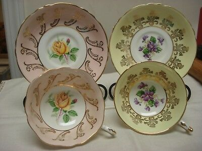 Pair of PARAGON Tea Cup & Saucer PINK and YELLOW ROSE and VIOLET GILDED FLORAL