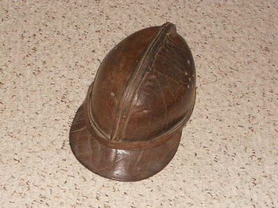 LEATHER MINER'S HELMET,1890s,from Budapest,signed-very nice piece!!