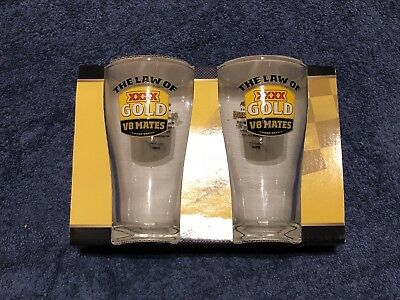 XXXX GOLD Beer THE LAW OF V8 MATES #1 DRINKING Crown Glass MAN CAVE BREWERIANA