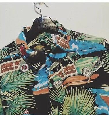 Hawaiian Shirt Psychedelic Summer Vintage Car Palm Trees Size Medium Rare Print