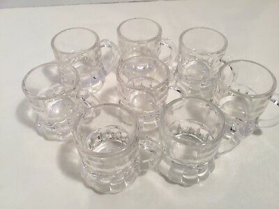 "Vintage Miniature Rootbeer Mugs Set of 8 2"" Tall Glass Very Collectible"