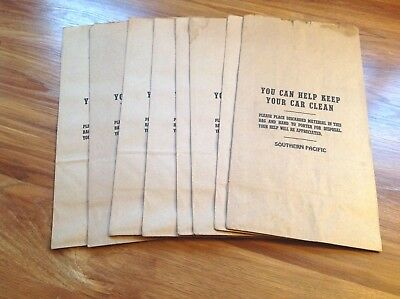 Vintage lot of 8 Southern Pacific Railroad Paper Trash Bags