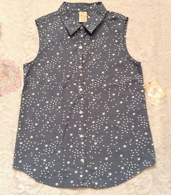 Girls Faded Glory Star Print Sleeveless Button Down Top Size 14/16