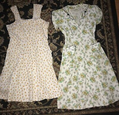 Lot of 2 Vintage 1940's 50's Day Dresses AS IS White Floral Rockabilly