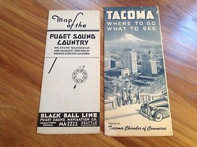 Vintage Tacoma Where To Go What To See & Pugent Sound Map Tourist Brochure