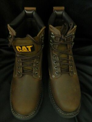 a05402098bd5 Caterpillar Cat Boots Dark Brown Leather Walking Machines Oil Resistant  Size 9.5
