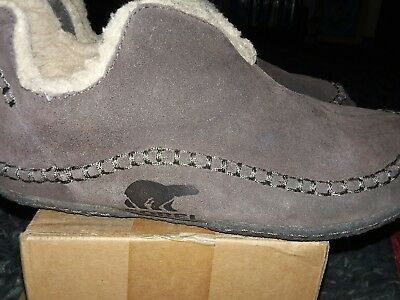 Sorel Manawan Mens Size 10 Brown Suede Lined Moccasin Slippers Shoes