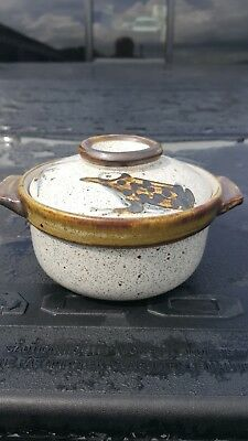 Antique Vintage Stoneware Pottery Japanese Oriental Asian Covered Rice Bowl