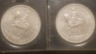 Lot of 2 1953 Great Britain 5 Shillings Horse & Rider Obverse Coin w/ Holders